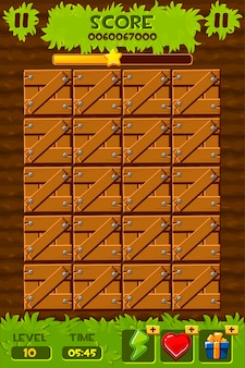 게임을위한 나무 상자와 식물이있는 필드.
