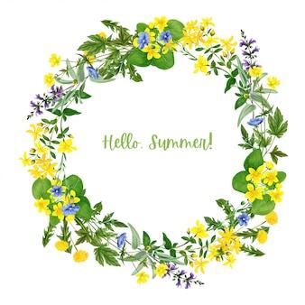 タンポポとラナンキュラスとフィールド黄色の花の花輪
