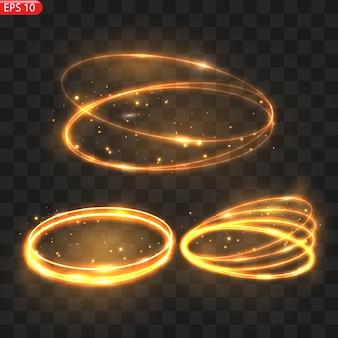 불타는 빛 서클 글로우 효과 반짝이는 황금빛 반짝이 불타는 서클은 마법의 회오리 바람과 빛 에너지를 반짝입니다.