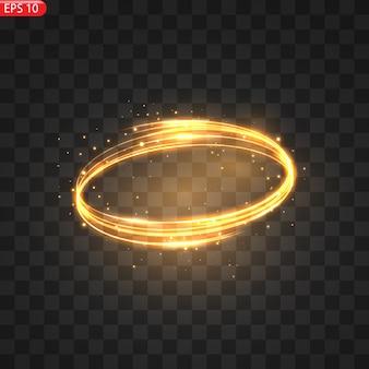 燃えるような光の輪が輝く黄金の輝き効果燃えるような円が輝く魔法の旋風と光のエネルギー
