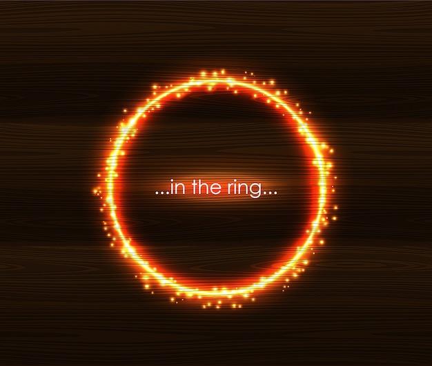 Огненный свет круглый шаблон кадра