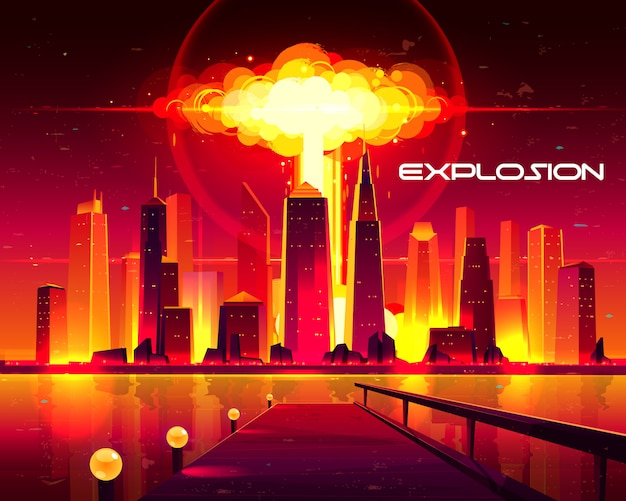 Fiery mushroom cloud of atomic bomb detonation raising under skyscrapers buildings illustration.