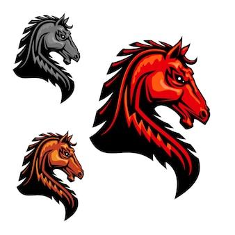 部族の様式化されたとがったたてがみの毛を持つ燃えるようなオレンジ色の馬の頭のクリップアート。
