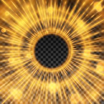 透明な背景に光効果と激しいstarburstフレームベクトル図