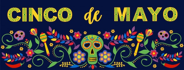 Fiesta banner and poster  with flags, flowers, decorations, and maracas text feliz cinco de mayo.