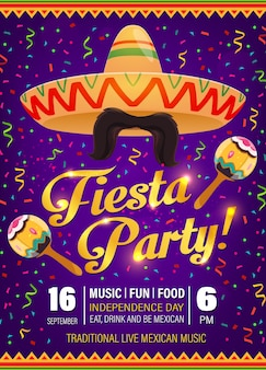 フィエスタパーティーフライヤー、メキシコのシンボルソンブレロ、マラカスの口ひげ、伝統的なジグザグパターンの紫色の背景にカラフルな紙吹雪。シンコデマヨの休日のお祝いの漫画のポスター