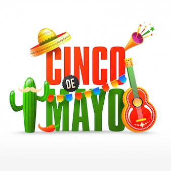Fiesta party flyer or or poster design for cinco de mayo