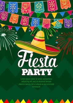 Fiesta party poster mexican symbols sombrero and colorful flag garlands
