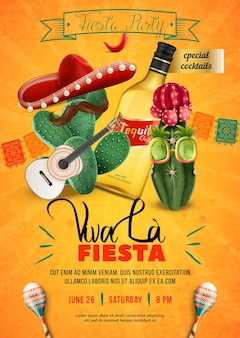 Fiesta party poster template with mexican sombrero guitar and moustache