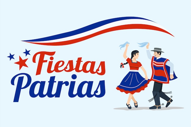 Fiestas patrias - independence day celebration of chile spanish phrase.