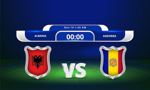 2022년 fifa 월드컵 알바니아 vs 안도라 축구 경기 스코어보드 중계