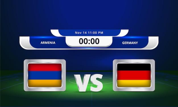 Fifa world cup 2022 armenia vs germany football match scoreboard broadcast