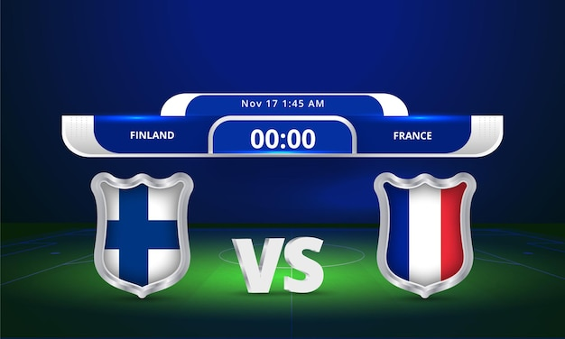 Fifa world cup 2022 finland vs france football match scoreboard broadcast