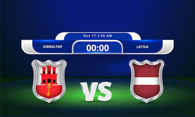 Fifa world cup 2022 gibraltar vs latvia football match scoreboard broadcast