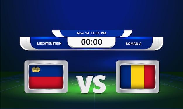Fifa world cup 2022 liechtenstein vs romania football match scoreboard broadcast
