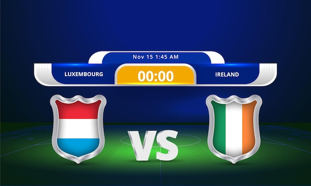 Fifa world cup 2022 luxembourg vs ireland football match scoreboard broadcast