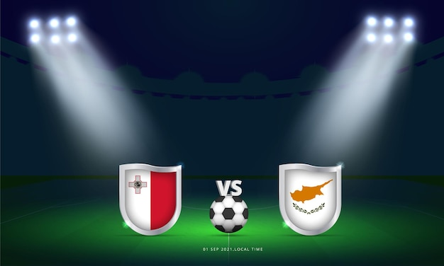 Fifa world cup 2022 malta vs cyprus qualifiers football match scoreboard broadcast