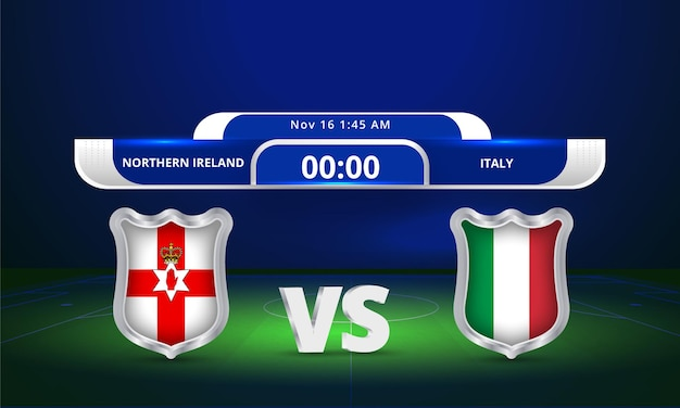 Fifa world cup 2022 northern ireland vs italy football match scoreboard broadcast