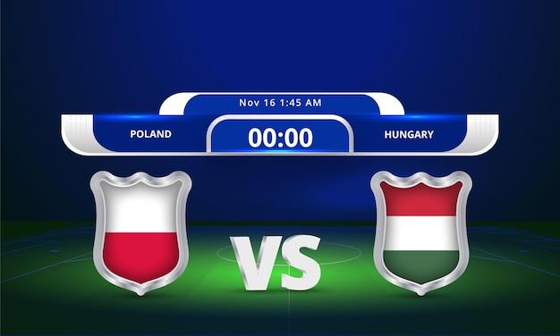 Fifa world cup 2022 poland vs hungary football match scoreboard broadcast