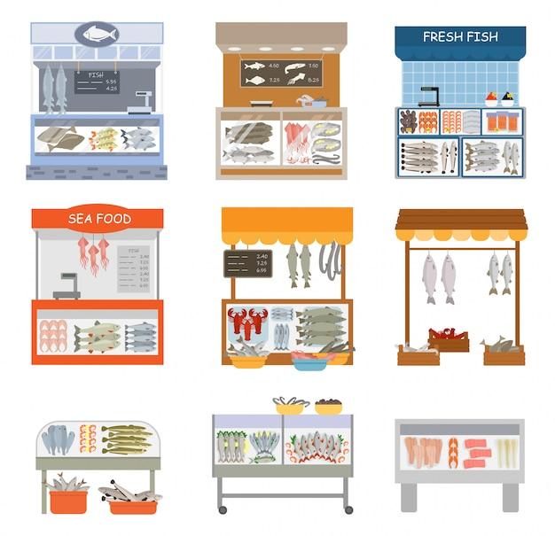Fifh market   fishstall fishstore illustration set