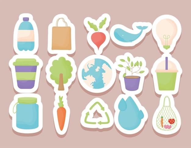 Fifteen eco stickers