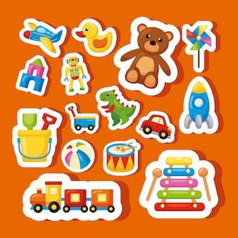 Fifteen kids toys set icons