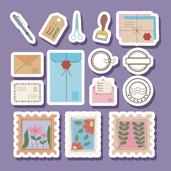 Fifteen postal service set icons