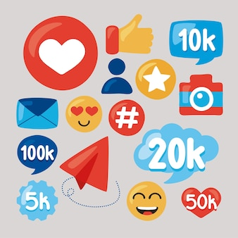 Fifteen social media followers set icons