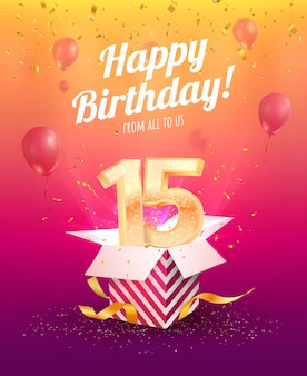 Пятнадцатилетний юбилей. пятнадцатый юбилей с воздушными шарами и конфетти на ярком фоне