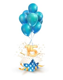 15年目のお祝い。 15歳の誕生日の孤立したデザイン要素を挨拶します。