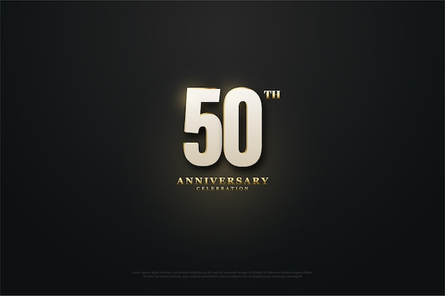 Fiftieth anniversary background with numbers emerging from the light