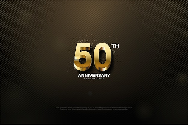 Fiftieth anniversary with gold numbers and black background