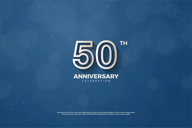 황금 줄에 숫자가있는 50 주년