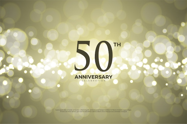 Fiftieth anniversary with numbers and there is a gold foil effect