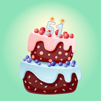 Fifty one years birthday cake with candles number 51. cute cartoon festive vector image. chocolate biscuit with berries, cherries and blueberries. happy birthday illustration for parties
