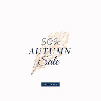 Fifty percent autumn sale. abstract  retro label, sign or card template.