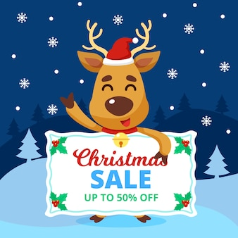 Fifty percent christmas sale in flat design