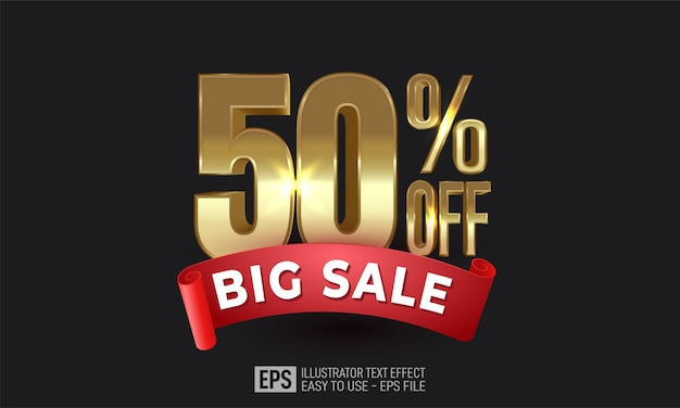 Fifty percent off gold with sale ribbon