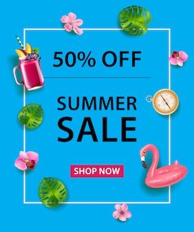 50 % 할인 포스터. 플라밍고 수영 튜브, 칵테일, 나침반, 난초 꽃과 잎