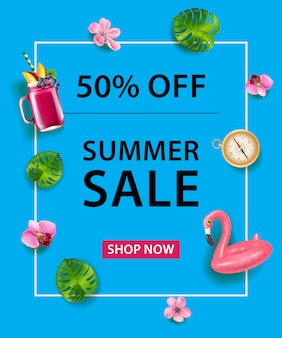 Fifty percent off poster. flamingo swim tube, cocktail, compass, orchid flowers and leaves