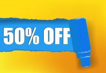 Fifty percent off promotion banner in yellow and blue colors