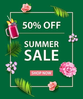 Fifty percent off summer sale shop now lettering. fruit drink, flowers and palm leaves