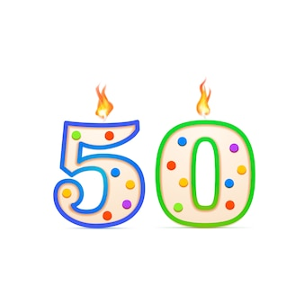 Fifty years anniversary, 50 number shaped birthday candle with fire on white