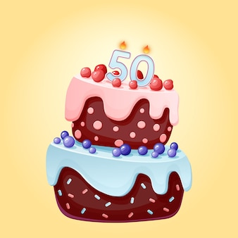 Fifty years birthday cake with candles number 50. cute cartoon festive vector image. chocolate biscuit with berries, cherries and blueberries. happy birthday illustration for parties