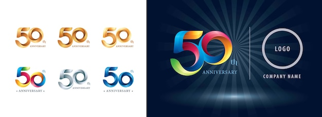 Fifty years celebration anniversary logo, origami stylized number letters, twist ribbons logo