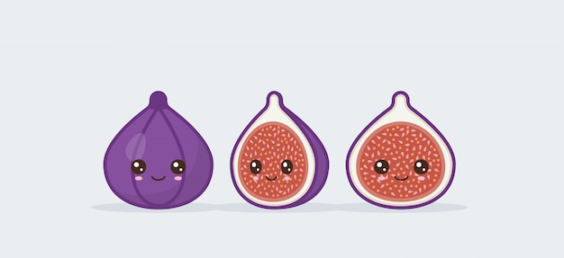 Fig fruit set drawn cute kawaii food faces