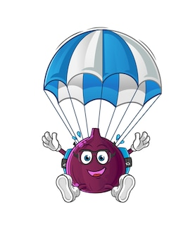Fig skydiving character isolated on white