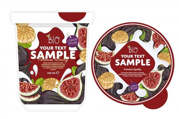 Fig yogurt packaging template.