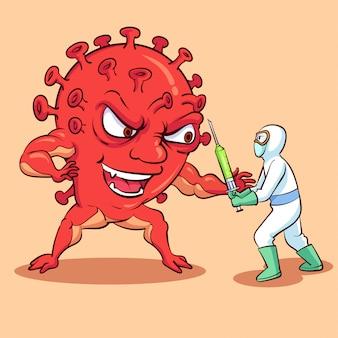 コロナウイルスモンスターと戦う