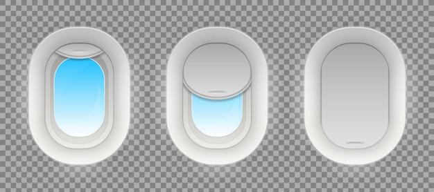 Fight airplane window, blank plane portholes.